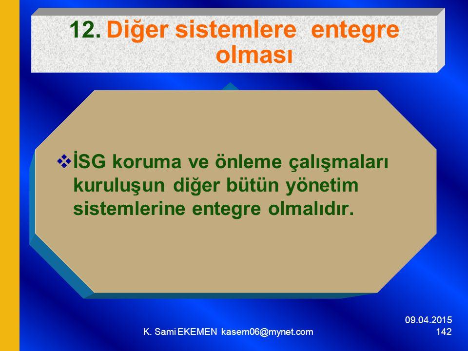 09.04.2015 K. Sami EKEMEN kasem06@mynet.com 142 12. D iğer sistemlere entegre olması  İSG koruma ve önleme çalışmaları kuruluşun diğer bütün yönetim