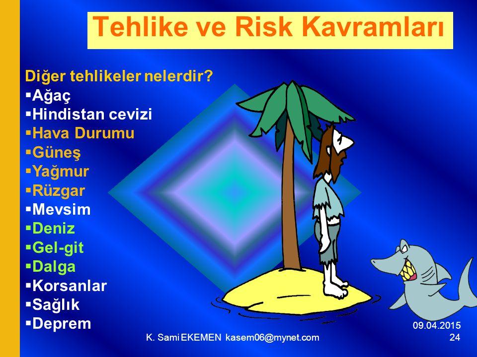 09.04.2015 K. Sami EKEMEN kasem06@mynet.com 24 Tehlike ve Risk Kavramları Diğer tehlikeler nelerdir?  Ağaç  Hindistan cevizi  Hava Durumu  Güneş 