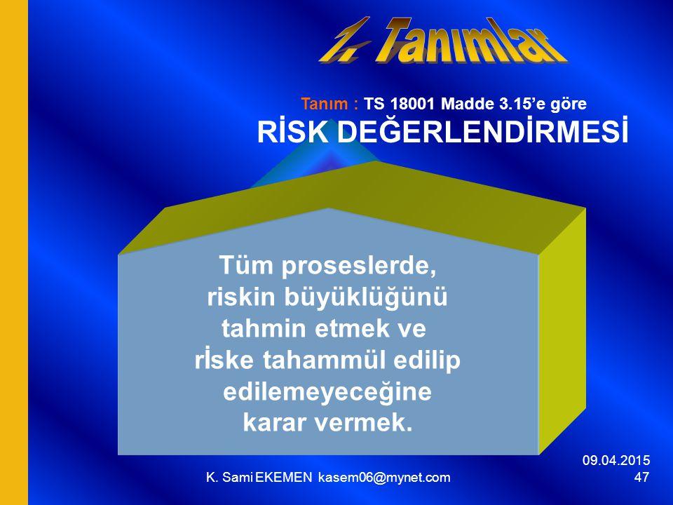 09.04.2015 K. Sami EKEMEN kasem06@mynet.com 47 Tanım : TS 18001 Madde 3.15'e göre RİSK DEĞERLENDİRMESİ Tüm proseslerde, riskin büyüklüğünü tahmin etme