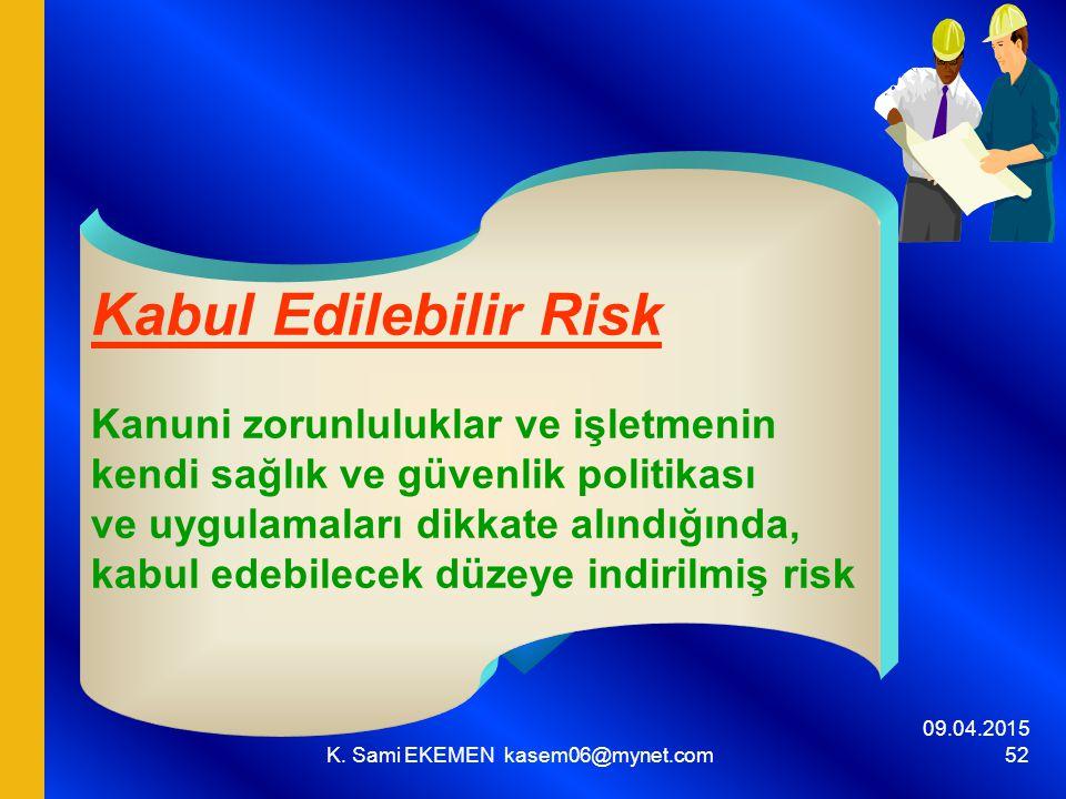 09.04.2015 K. Sami EKEMEN kasem06@mynet.com 52 Kabul Edilebilir Risk Kanuni zorunluluklar ve işletmenin kendi sağlık ve güvenlik politikası ve uygulam