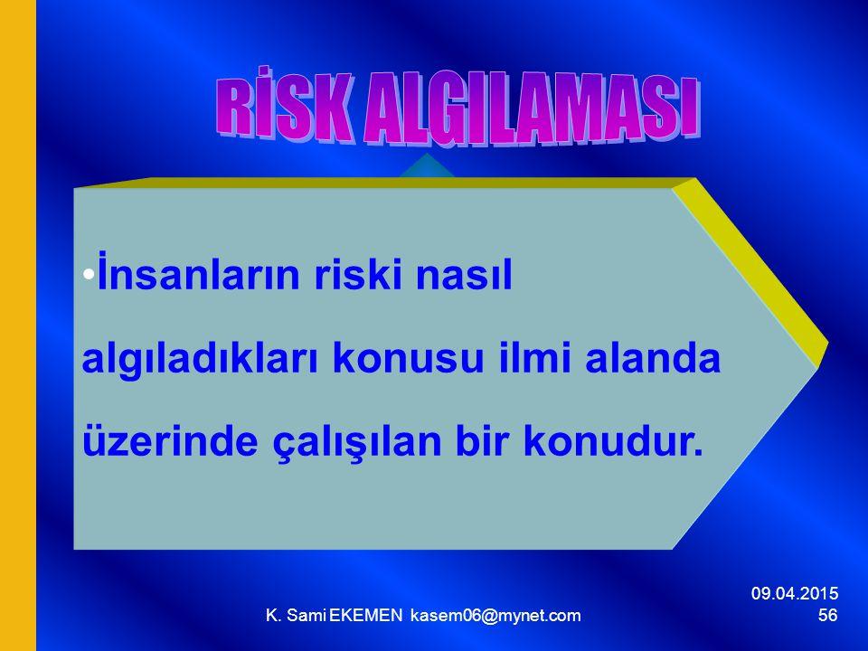 09.04.2015 K. Sami EKEMEN kasem06@mynet.com 56 İnsanların riski nasıl algıladıkları konusu ilmi alanda üzerinde çalışılan bir konudur.