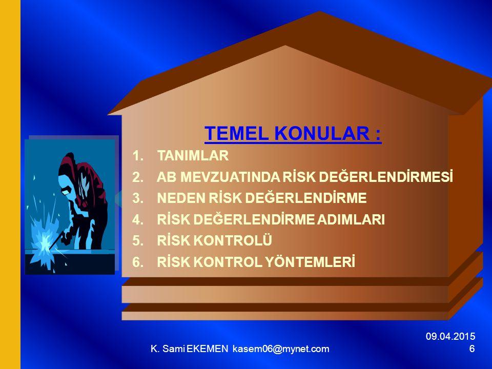 09.04.2015 K.Sami EKEMEN kasem06@mynet.com 87 KURULUŞLARDA Risk Değerlendirme Çalışmaları a.