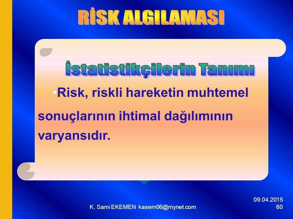 09.04.2015 K. Sami EKEMEN kasem06@mynet.com 60 Risk, riskli hareketin muhtemel sonuçlarının ihtimal dağılımının varyansıdır.