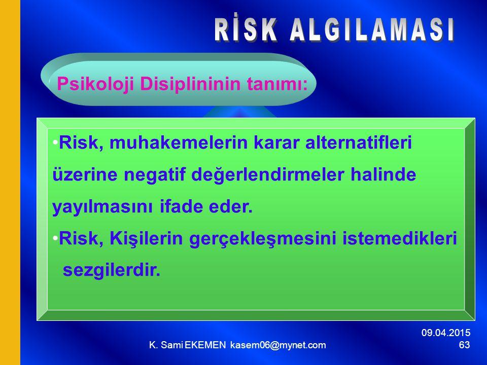 09.04.2015 K. Sami EKEMEN kasem06@mynet.com 63 Psikoloji Disiplininin tanımı: Risk, muhakemelerin karar alternatifleri üzerine negatif değerlendirmele