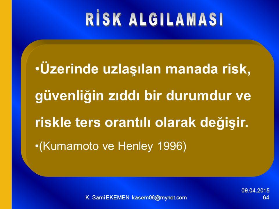 09.04.2015 K. Sami EKEMEN kasem06@mynet.com 64 Üzerinde uzlaşılan manada risk, güvenliğin zıddı bir durumdur ve riskle ters orantılı olarak değişir. (