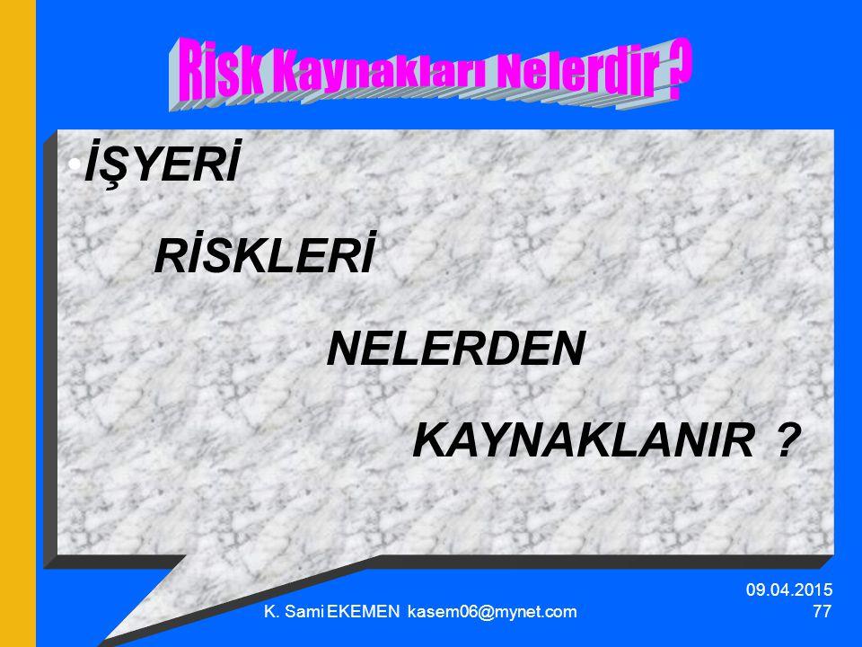 09.04.2015 K. Sami EKEMEN kasem06@mynet.com 77 İŞYERİ RİSKLERİ NELERDEN KAYNAKLANIR ?