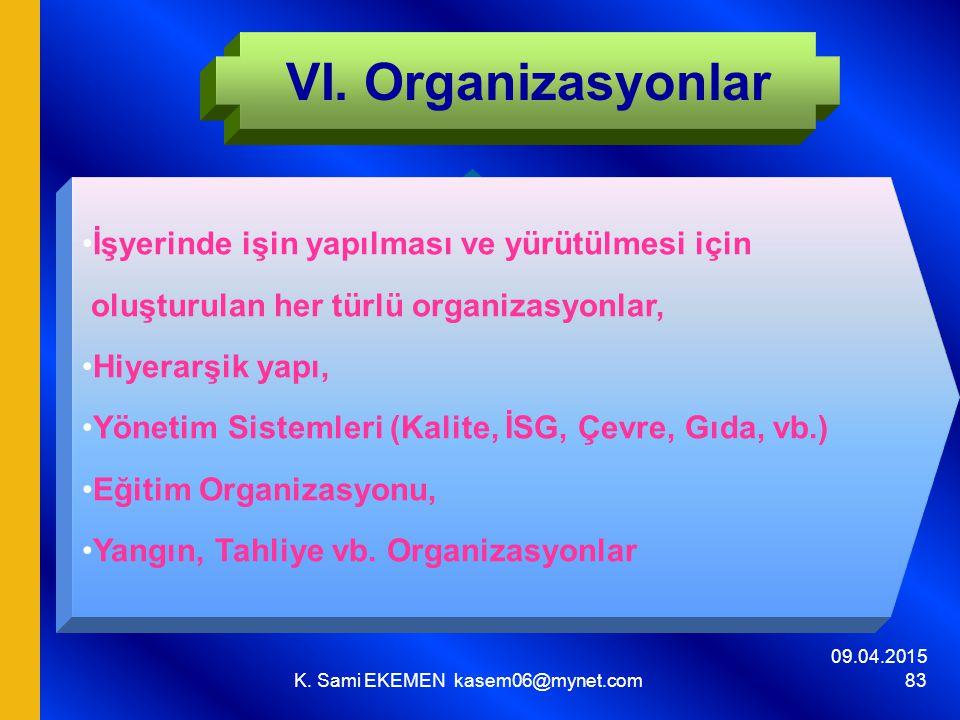 09.04.2015 K. Sami EKEMEN kasem06@mynet.com 83 VI. Organizasyonlar İşyerinde işin yapılması ve yürütülmesi için oluşturulan her türlü organizasyonlar,