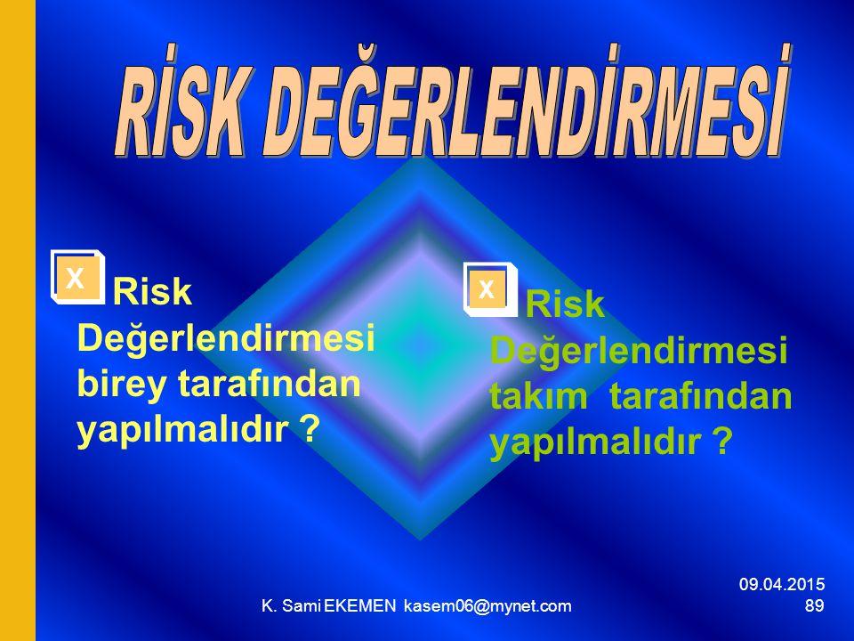 09.04.2015 K. Sami EKEMEN kasem06@mynet.com 89  Risk Değerlendirmesi birey tarafından yapılmalıdır ?  Risk Değerlendirmesi takım tarafından yapılmal