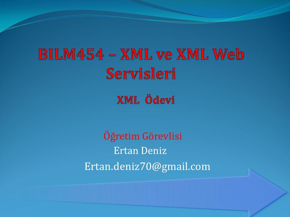  Ailenizin soy ağacınının XML dokümanı olarak hazırlanması  Sadece XML elemanları kullanarak,  Sadece XML öznitelikleri kullanarak,  Eleman ve öznitelikleri birlikte kullanarak, (Daha uygun olanların, öznitelik olarak seçmelisin.) (Çocuk elemanlar / Öznitelikler : Adı Soyadı, Cinsiyeti, Doğum Tarihi,Sizin ile olan yakınlığı)  XML dosyalarından birisini doğrulamak için, bir XSD dokümanı geliştir.