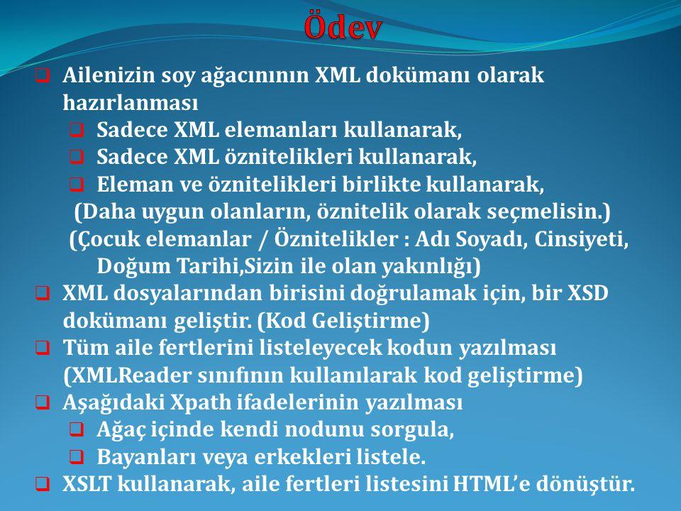  26.10.2010 (Ders saatinden önce)  Bir çözüm paketi oluşturulması  XML Dizini (XML dosyaları, XSD dosyası)  XSD Dizini (Kaynak kodu & Çıktının metin dosyası)  XML Reader Dizini (Kaynak kodu & Çıktının metin dosyası)  XSLT Dizini (XSL Dosyası,XML Dosyası, XPATH Sorguları,HTML çıktı)  Dokümantasyon Dizini (Ödev Raporu)  Gönderilecek e-mail adresi : aserbetci@fatih.edu.traserbetci@fatih.edu.tr