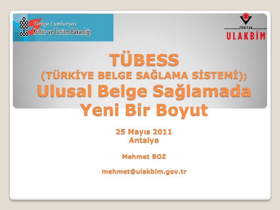 TÜBESS (TÜRKİYE BELGE SAĞLAMA SİSTEMİ); Ulusal Belge Sağlamada Yeni Bir Boyut 25 Mayıs 2011 Antalya Mehmet BOZ mehmet@ulakbim.gov.tr
