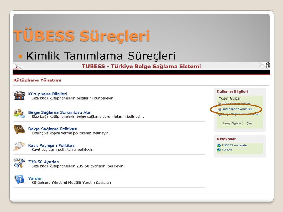TÜBESS Süreçleri Kimlik Tanımlama Süreçleri