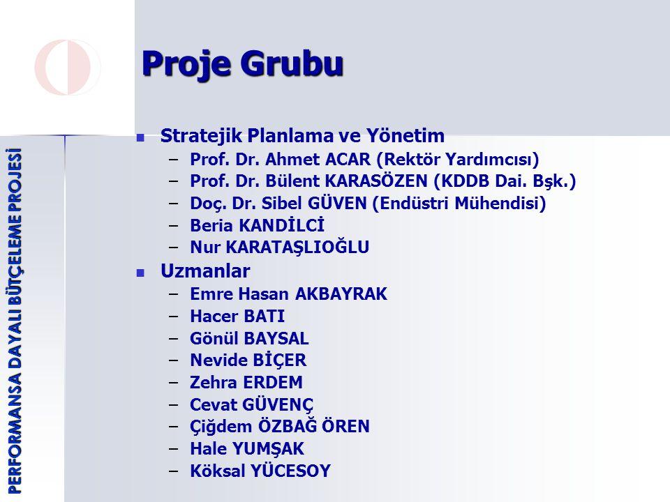 Proje Grubu Stratejik Planlama ve Yönetim – –Prof.