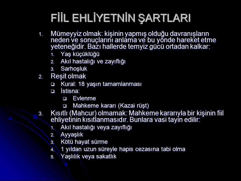 FİİL EHLİYETNİN ŞARTLARI 1.