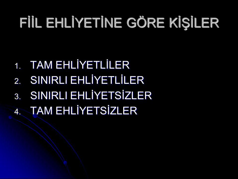 FİİL EHLİYETİNE GÖRE KİŞİLER 1.TAM EHLİYETLİLER 2.
