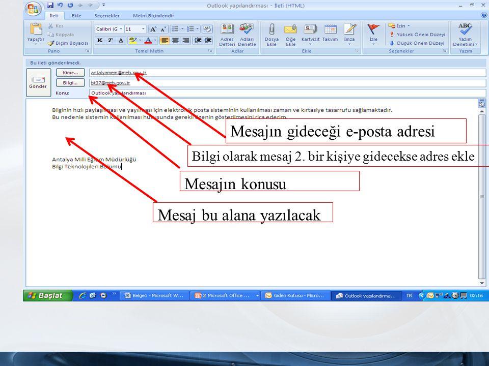 Mesajın gideceği e-posta adresi Bilgi olarak mesaj 2.
