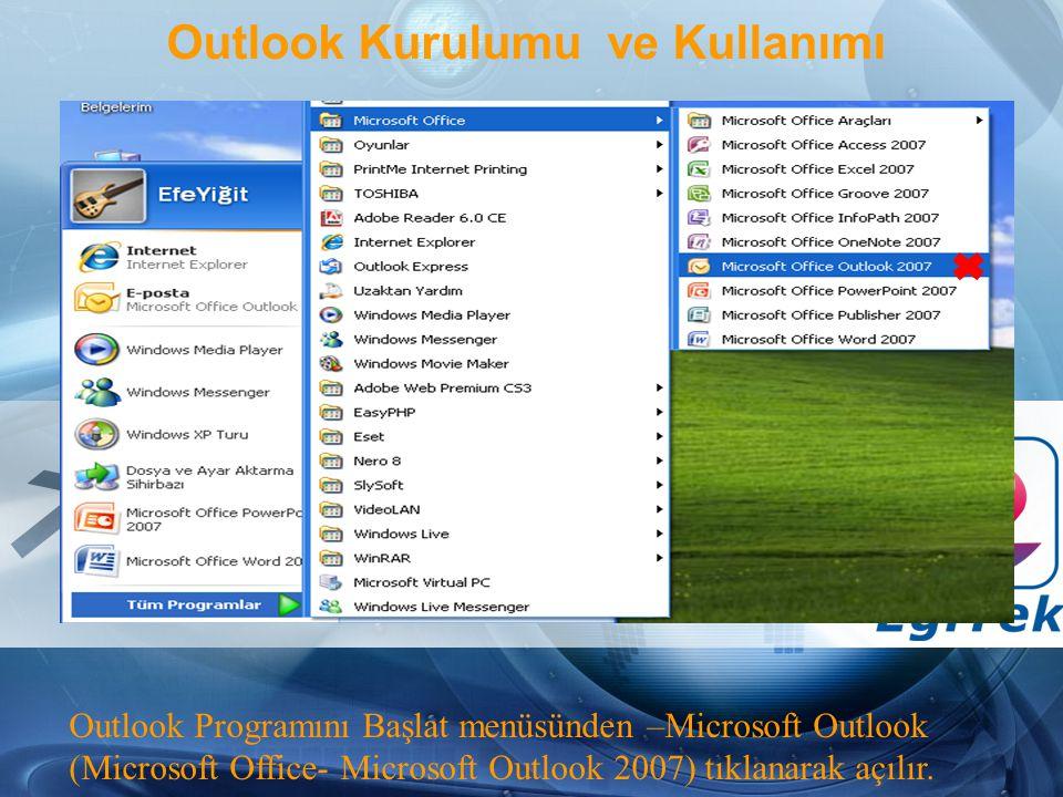 Outlook Kurulumu ve Kullanımı Outlook Programını Başlat menüsünden –Microsoft Outlook (Microsoft Office- Microsoft Outlook 2007) tıklanarak açılır.