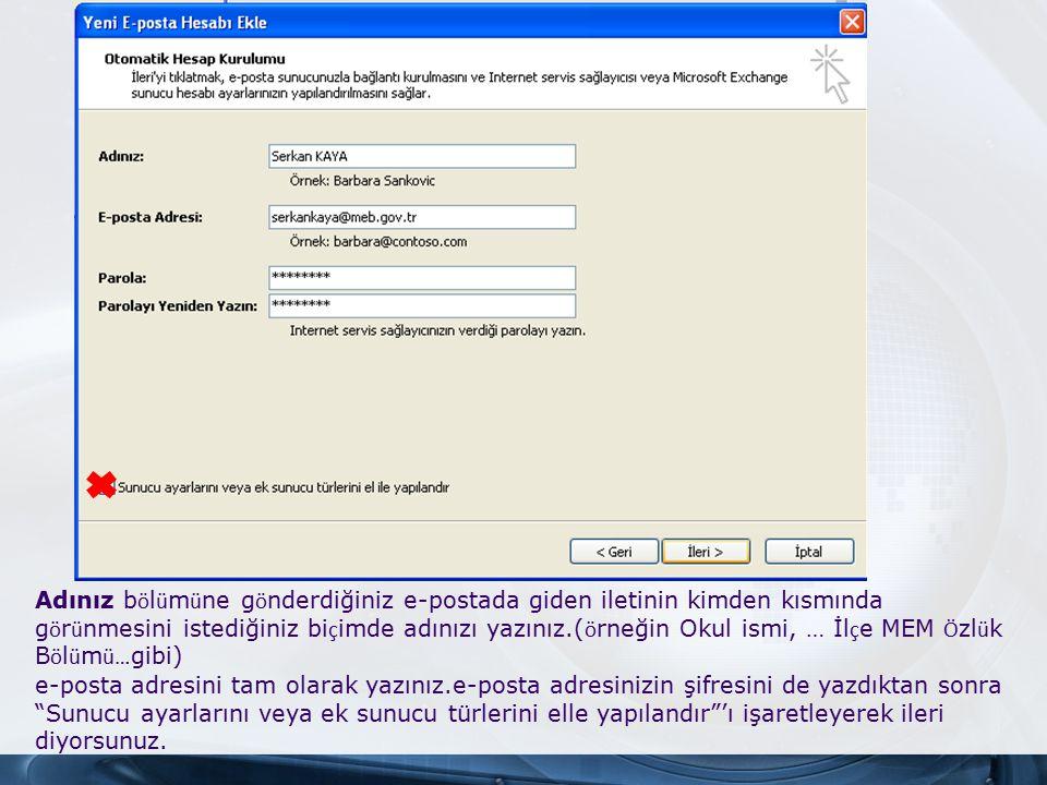 Outlook Express klasörleri Klasörler listesinde programın hazır verdiği bazı klasörler vardır.