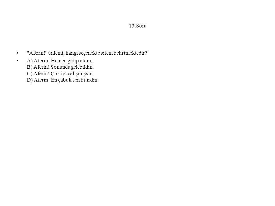 13.Soru Aferin! ünlemi, hangi seçenekte sitem belirtmektedir.