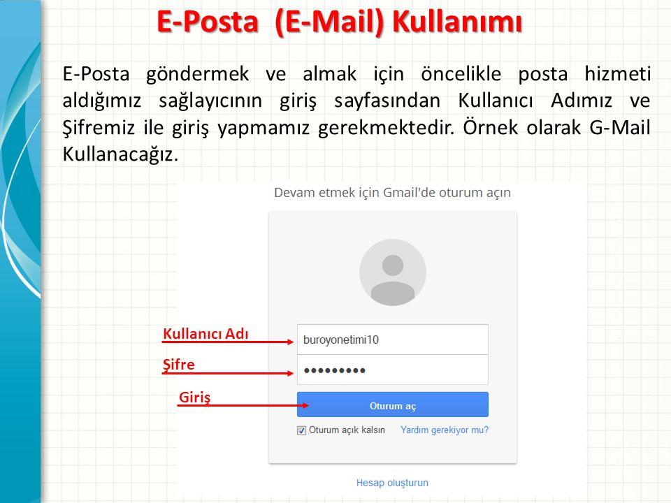 E-Posta göndermek ve almak için öncelikle posta hizmeti aldığımız sağlayıcının giriş sayfasından Kullanıcı Adımız ve Şifremiz ile giriş yapmamız gerekmektedir.