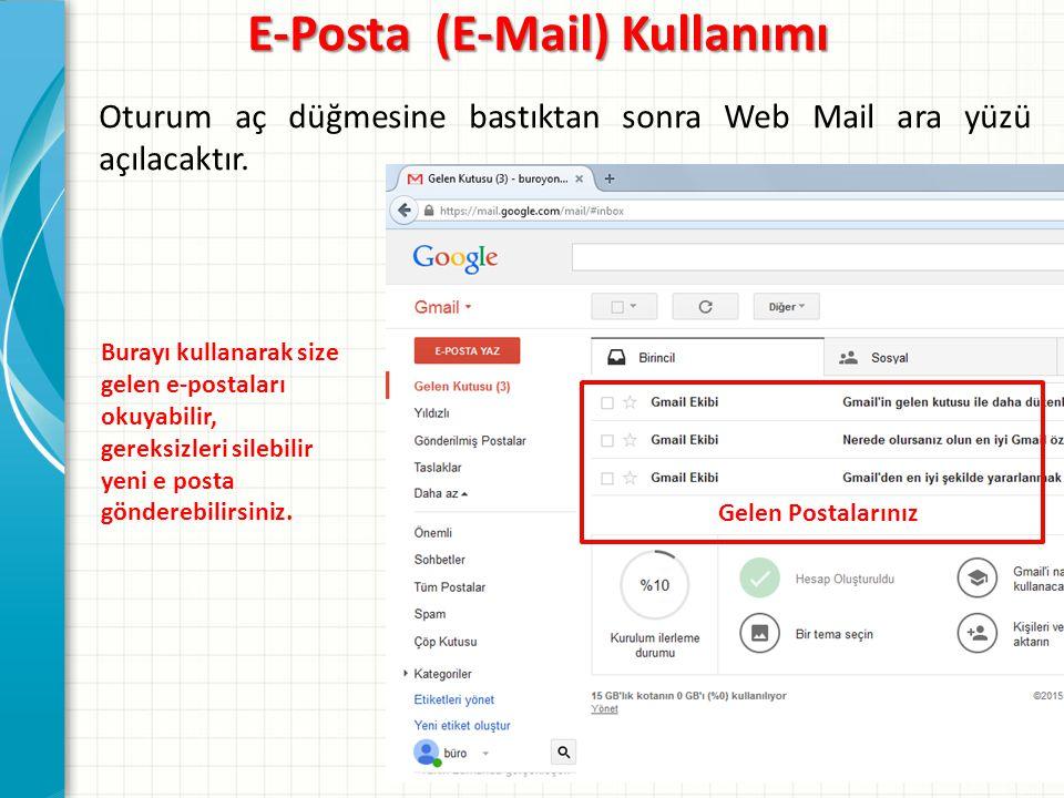Oturum aç düğmesine bastıktan sonra Web Mail ara yüzü açılacaktır.