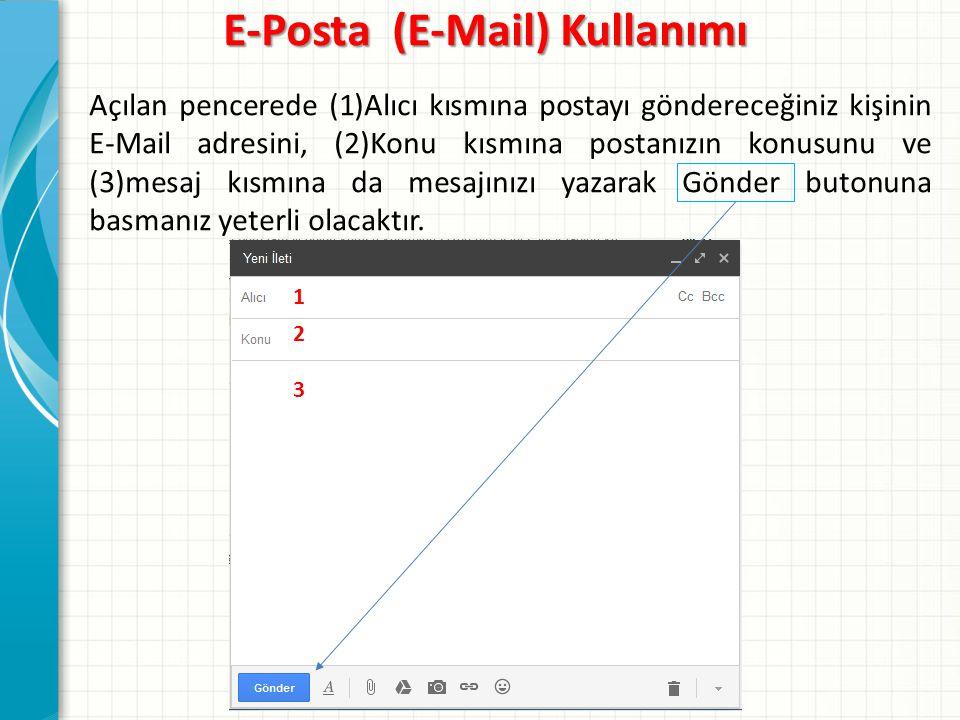 E-Posta (E-Mail) Kullanımı Açılan pencerede (1)Alıcı kısmına postayı göndereceğiniz kişinin E-Mail adresini, (2)Konu kısmına postanızın konusunu ve (3)mesaj kısmına da mesajınızı yazarak Gönder butonuna basmanız yeterli olacaktır.
