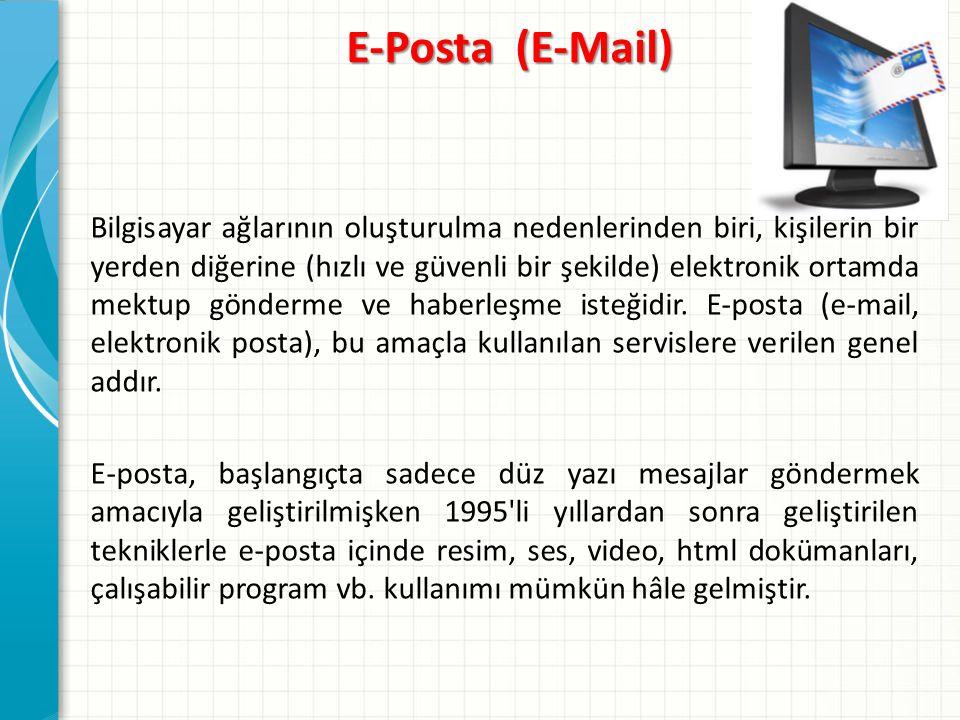 E-posta adresleri genellikle web sitelerinin adresleri ile karıştırılmakta ve bu nedenle çeşitli iletişim problemleri çıkmaktadır bir web sayfasının adresi www.meb.gov.tr iken aynı sitenin e-posta adresi info@meb.gov.tr dir.www.meb.gov.trinfo@meb.gov.tr Bir e-posta adresinin yapısına bakacak olursak: Kullanıcı adı Kuruluşun adı domain adı Ülke Kodu İ N F O @ MEB.