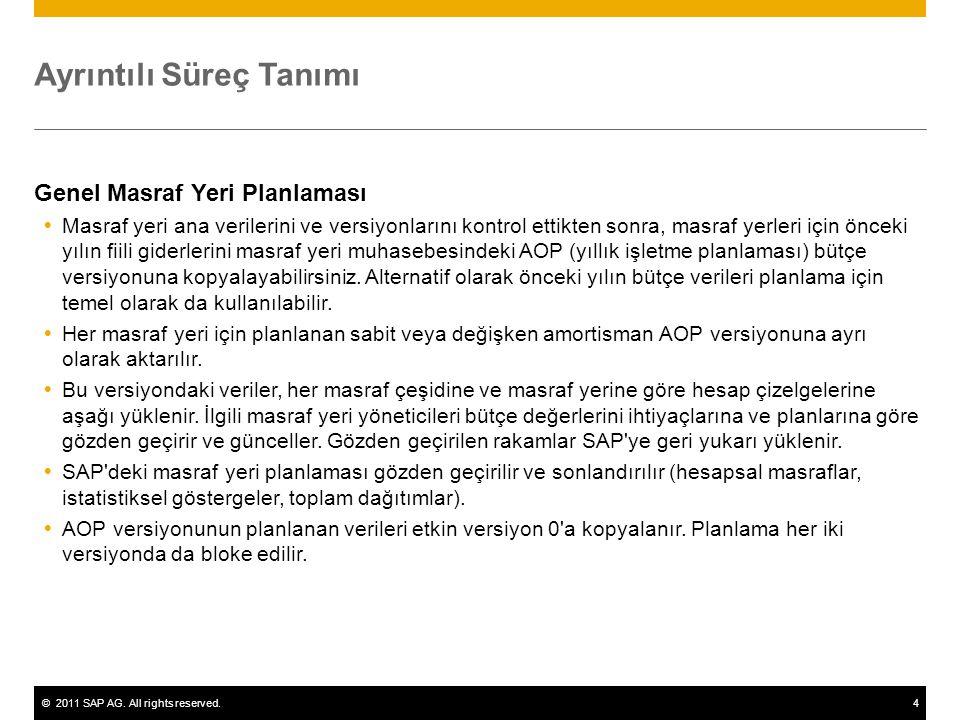 ©2011 SAP AG. All rights reserved.4 Ayrıntılı Süreç Tanımı Genel Masraf Yeri Planlaması  Masraf yeri ana verilerini ve versiyonlarını kontrol ettikte