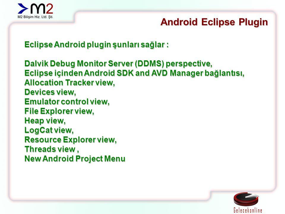 Eclipse Android plugin şunları sağlar : Dalvik Debug Monitor Server (DDMS) perspective, Eclipse içinden Android SDK and AVD Manager bağlantısı, Allocation Tracker view, Devices view, Emulator control view, File Explorer view, Heap view, LogCat view, Resource Explorer view, Threads view, New Android Project Menu