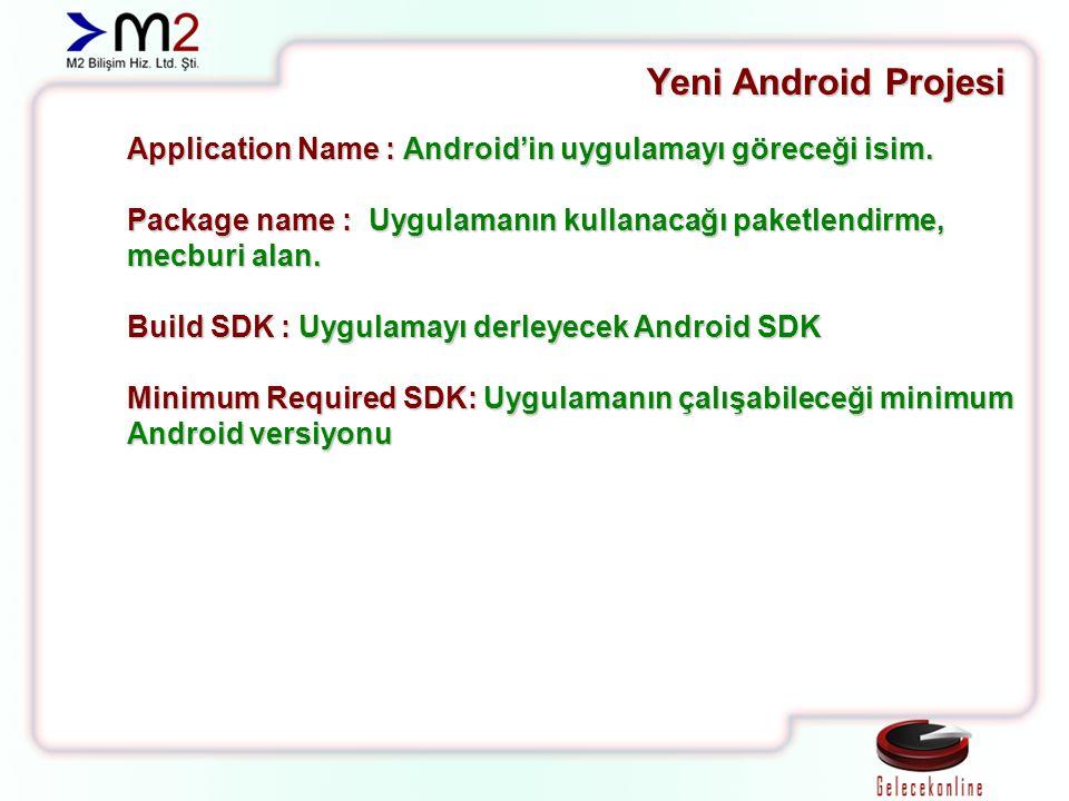 Yeni Android Projesi Application Name : Android'in uygulamayı göreceği isim. Package name : Uygulamanın kullanacağı paketlendirme, mecburi alan. Build