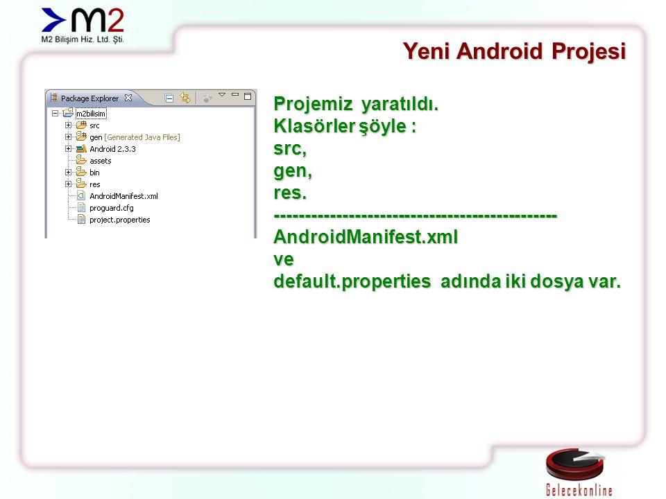 Yeni Android Projesi Projemiz yaratıldı. Klasörler şöyle : src,gen,res.----------------------------------------------AndroidManifest.xmlve default.pro