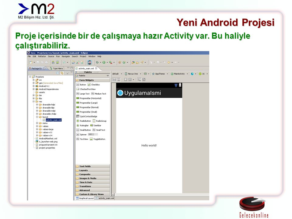 Yeni Android Projesi Proje içerisinde bir de çalışmaya hazır Activity var. Bu haliyle çalıştırabiliriz.