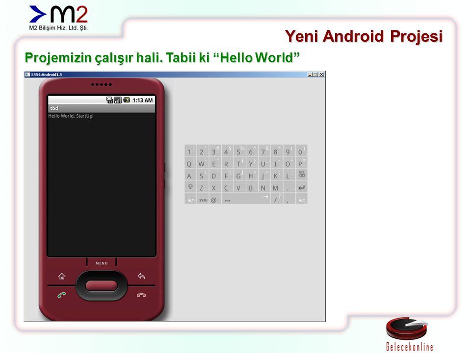 """Yeni Android Projesi Projemizin çalışır hali. Tabii ki """"Hello World"""""""