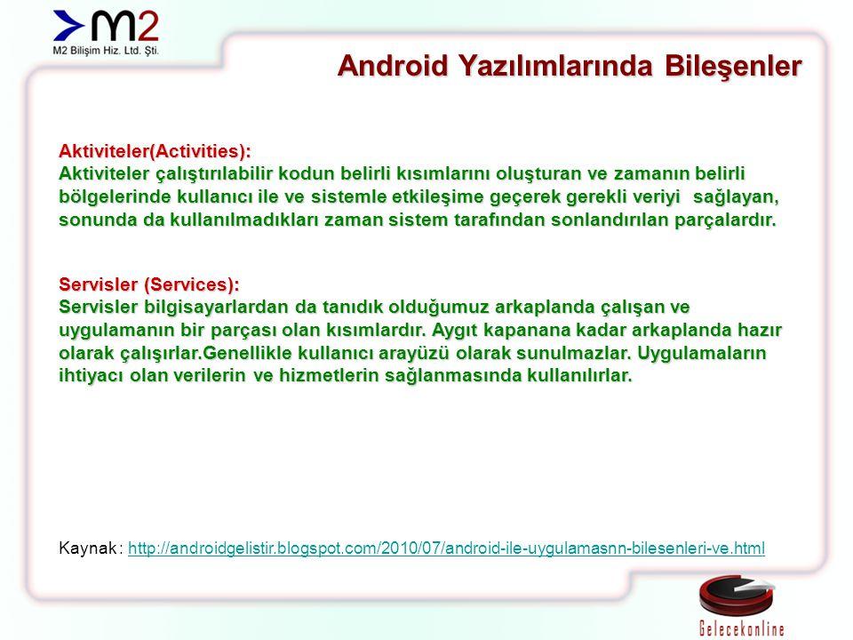 Android Yazılımlarında Bileşenler Aktiviteler(Activities): Aktiviteler çalıştırılabilir kodun belirli kısımlarını oluşturan ve zamanın belirli bölgele