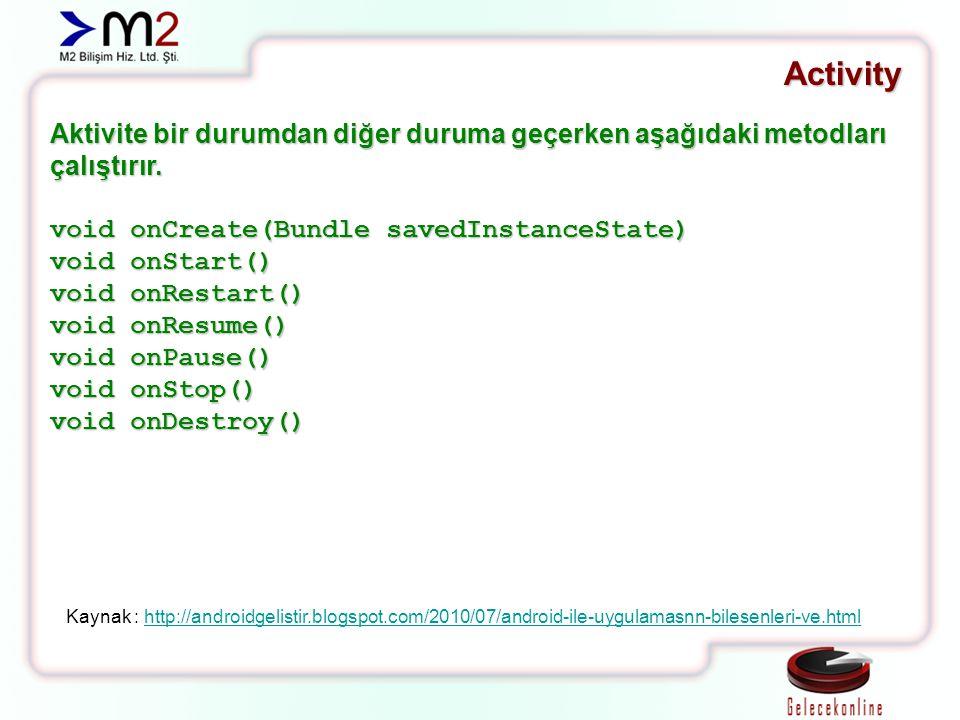 Activity Aktivite bir durumdan diğer duruma geçerken aşağıdaki metodları çalıştırır. void onCreate(Bundle savedInstanceState) void onStart() void onRe