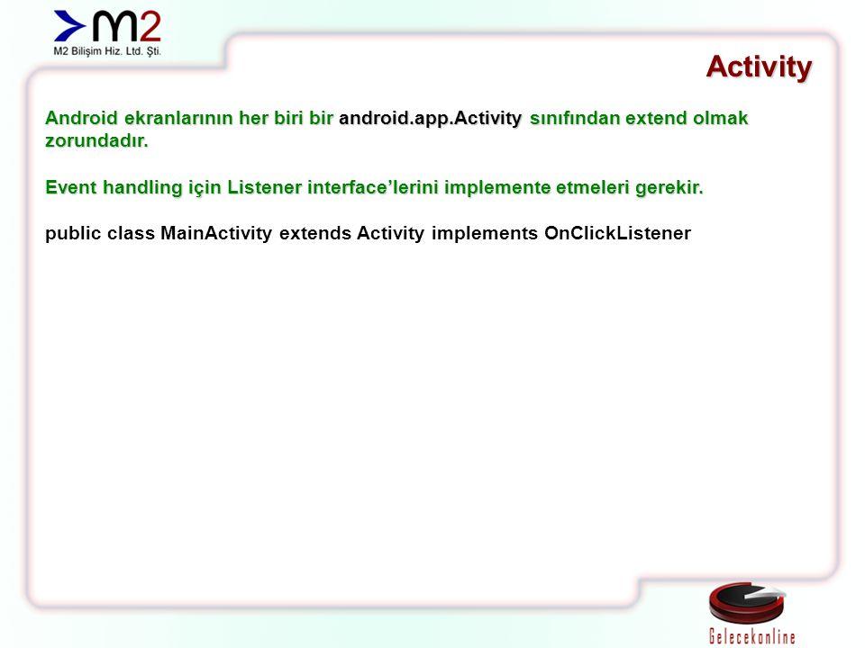 Activity Android ekranlarının her biri bir android.app.Activity sınıfından extend olmak zorundadır. Event handling için Listener interface'lerini impl