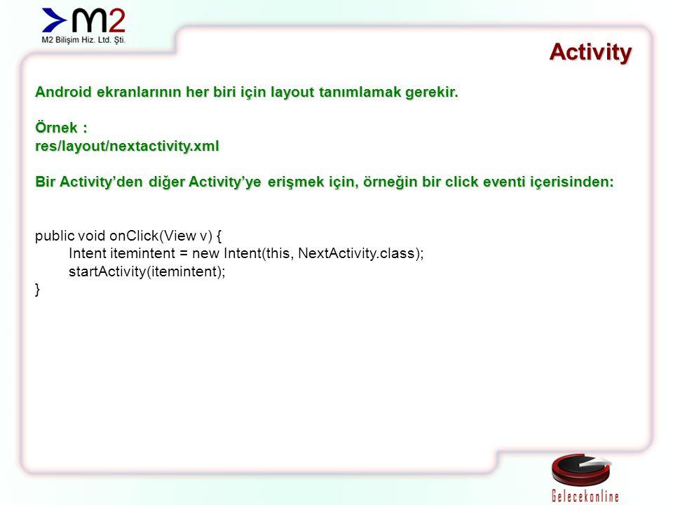Activity Android ekranlarının her biri için layout tanımlamak gerekir. Örnek : res/layout/nextactivity.xml Bir Activity'den diğer Activity'ye erişmek