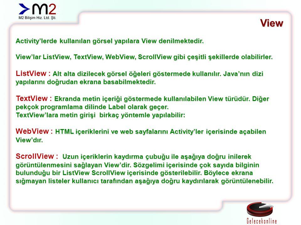 View Activity'lerde kullanılan görsel yapılara View denilmektedir. View'lar ListView, TextView, WebView, ScrollView gibi çeşitli şekillerde olabilirle