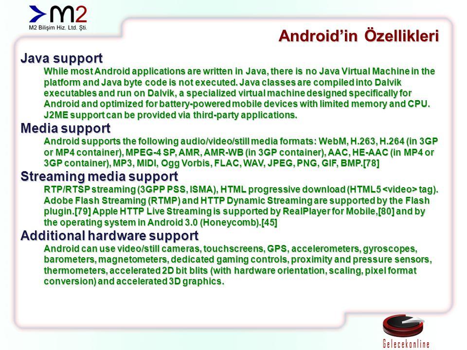 Kaynakça: http://wikipedia.org http://www.android.com http://developer.android.com