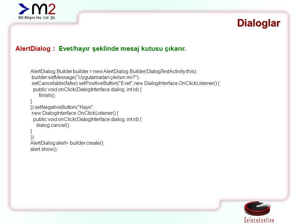 Dialoglar AlertDialog : Evet/hayır şeklinde mesaj kutusu çıkarır. AlertDialog.Builder builder = new AlertDialog.Builder(DialogTestActivity.this); buil
