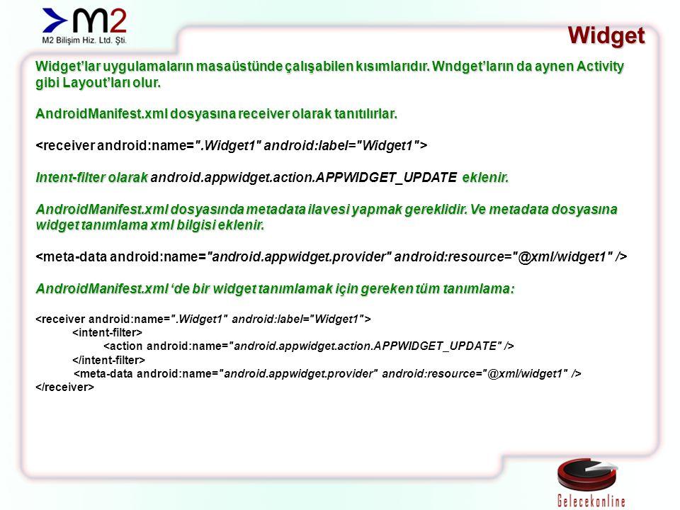 Widget Widget'lar uygulamaların masaüstünde çalışabilen kısımlarıdır. Wndget'ların da aynen Activity gibi Layout'ları olur. AndroidManifest.xml dosyas