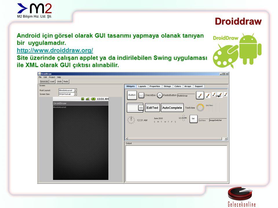 Droiddraw Android için görsel olarak GUI tasarımı yapmaya olanak tanıyan bir uygulamadır. http://www.droiddraw.org/ Site üzerinde çalışan applet ya da