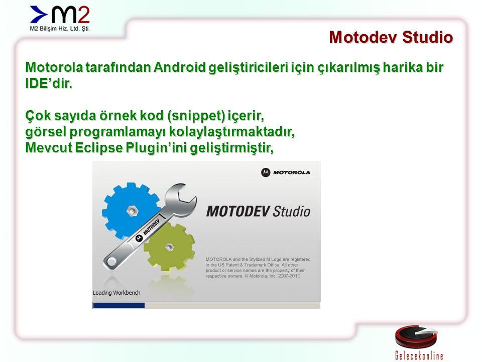 Motodev Studio Motorola tarafından Android geliştiricileri için çıkarılmış harika bir IDE'dir. Çok sayıda örnek kod (snippet) içerir, görsel programla