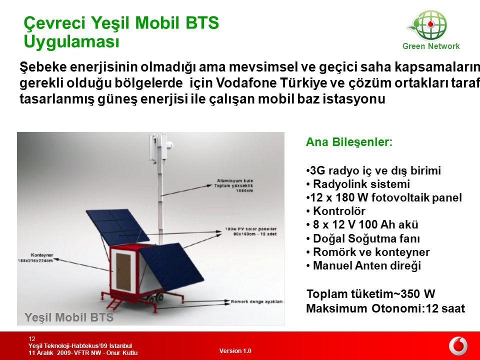 Version 1.0 Yeşil Teknoloji-Habtekus'09 Istanbul 11 Aralık 2009- VFTR NW - Onur Kutlu 12 Çevreci Yeşil Mobil BTS Uygulaması Green Network Yeşil Mobil