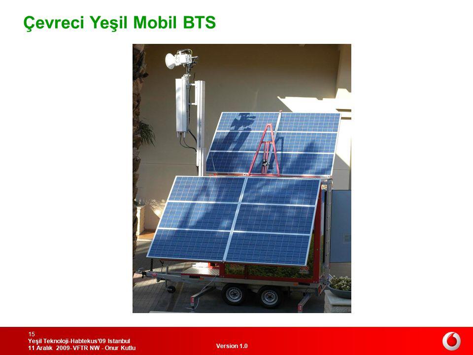Version 1.0 Yeşil Teknoloji-Habtekus'09 Istanbul 11 Aralık 2009- VFTR NW - Onur Kutlu 15 Çevreci Yeşil Mobil BTS