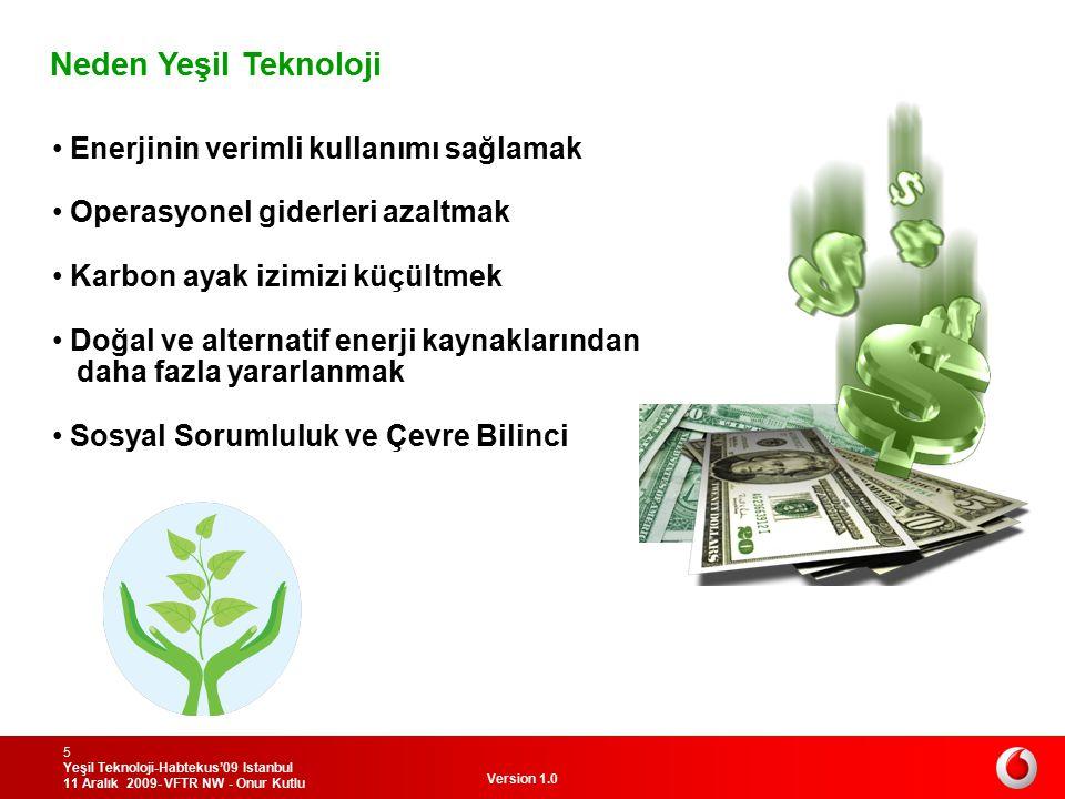 Version 1.0 Yeşil Teknoloji-Habtekus'09 Istanbul 11 Aralık 2009- VFTR NW - Onur Kutlu 5 Neden Yeşil Teknoloji Enerjinin verimli kullanımı sağlamak Ope