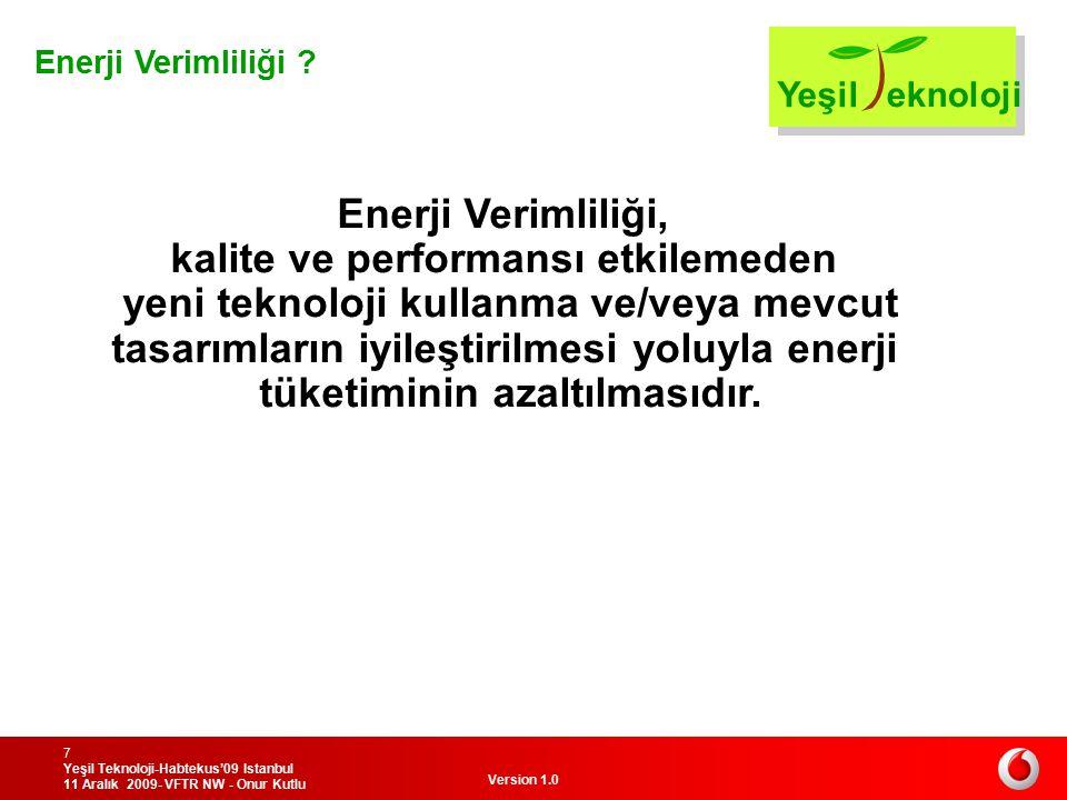 Version 1.0 Yeşil Teknoloji-Habtekus'09 Istanbul 11 Aralık 2009- VFTR NW - Onur Kutlu 7 Enerji Verimliliği, kalite ve performansı etkilemeden yeni tek