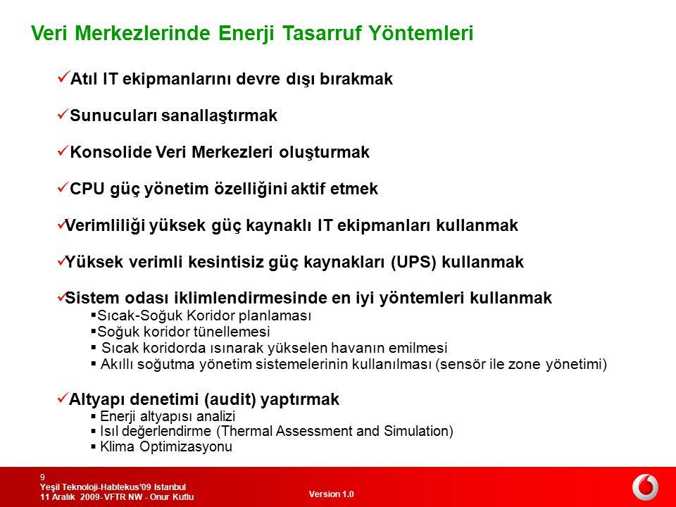 Version 1.0 Yeşil Teknoloji-Habtekus'09 Istanbul 11 Aralık 2009- VFTR NW - Onur Kutlu 10 Santral Merkezlerinde Enerji Tasarruf Yöntemleri Aynı türden santral ekipmanlarını aynı salon veya odaya tesis etmek Salon sıcaklığını 24-25 dereceye sabitlemek Gerilim düşümünü azaltmak Yüksek verimli DC güç kaynakları (min 93%) kullanmak Sistem odası iklimlendirmesinde en iyi yöntemleri kullanmak  Kabin önü havalandırma ızgaralarını  Kablo kanallarının oda geçiş noktalarının iyi kapatılması  Akıllı soğutma yönetim sistemlerinin kullanılması (sensör ile zone yönetimi) Altyapı denetimi (audit) yaptırmak  Enerji altyapısı analizi  Isıl değerlendirme (Thermal Assessment and Simulation)  Klima Optimizasyonu