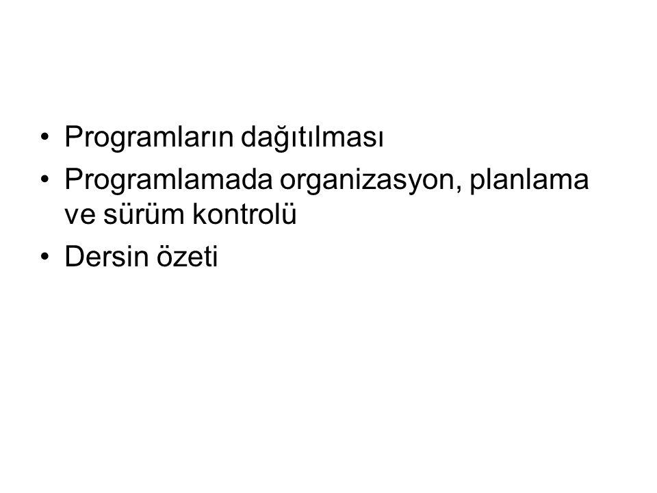 Programların dağıtılması Programlamada organizasyon, planlama ve sürüm kontrolü Dersin özeti