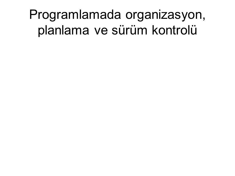 Programlamada organizasyon, planlama ve sürüm kontrolü